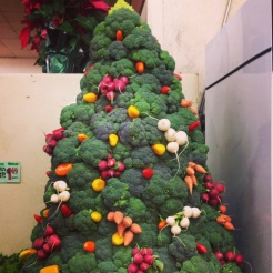 Christmas came to our local store Monterey Market. This Christmas tree was made of broccoli decorated with different radish and carrots.
