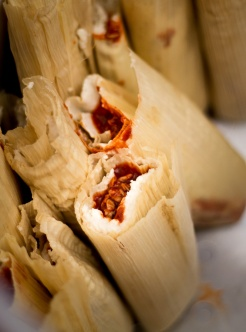 When the tamales were ready they were packed in to the large pots for steaming in vertical position, open end up.