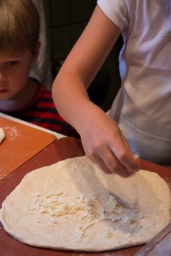 We got a chance to learn how to make our all time favorites on Jupiter's menu. The first filling in both of them was grated cheese.